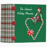 Girl Elf Candy Cane Heart Holiday Binder