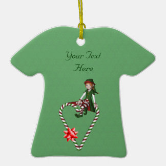 Girl Elf Candy Cane Heart Holiday Ornament
