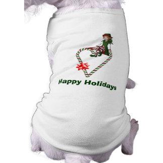 Girl Elf Candy Canes Christmas Holiday Dog Shirt