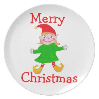 girl elf Christmas plate