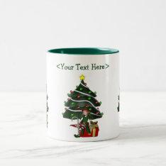 Girl Elf Christmas Tree Personalized Holiday Mug at Zazzle