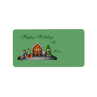 Girl Elf Gingerbread House Holiday Gift Tag Label