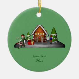 Girl Elf Gingerbread House Holiday Ornament