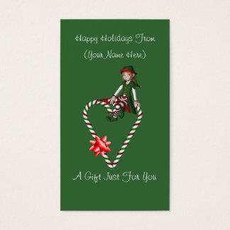 Girl Elf Heart Christmas Holiday Gift Card Tag