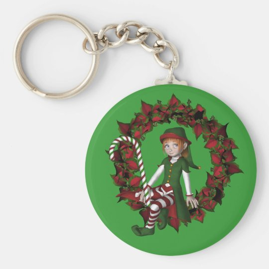 Girl Elf On Wreath Christmas Holiday Keychain