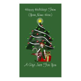 Girl Elf Present Christmas Holiday Gift Card Tag