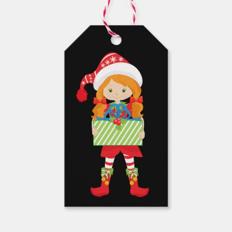 Girl Elf/Redhead/in Red with Christmas Gift Gift Tags