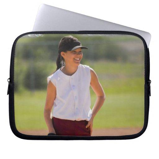 Girl enjoying playing baseball laptop computer sleeve