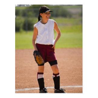 Girl enjoying playing baseball postcard