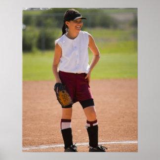 Girl enjoying playing baseball poster