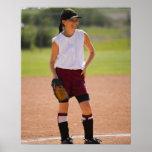 Girl enjoying playing baseball print