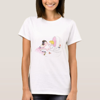 Girl Entertains Baby Brother in Bassinet T-Shirt