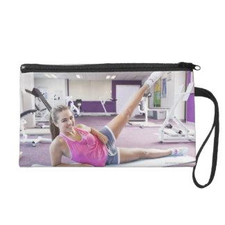 Girl Exercising in Gym Wristlet Purse