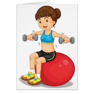 Girl Exercising With Weights Greeting Cards