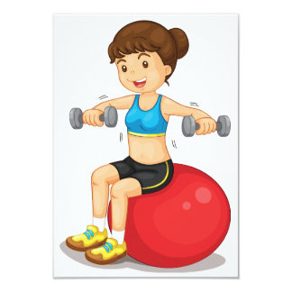 Girl Exercising With Weights Invitations