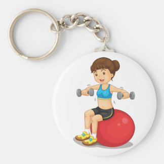 Girl Exercising With Weights Keychain