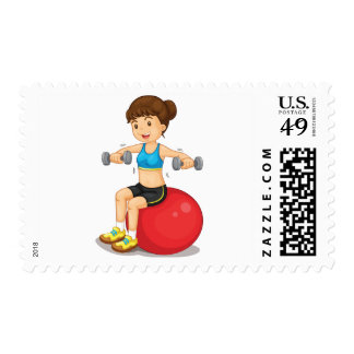 Girl Exercising With Weights Postage
