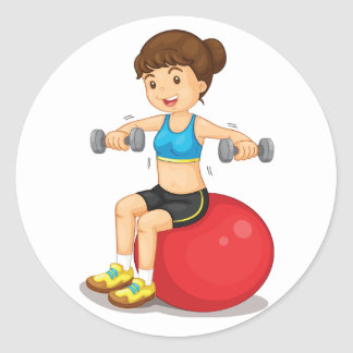 Girl Exercising With Weights Stickers