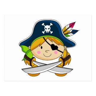 Girl Eyepatch Pirate Postcard