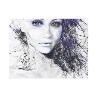 Girl Face Eyes Hair Drawing Canvas Print