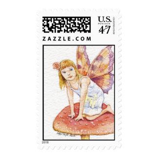 Girl Fairy On Mushroom Stamp