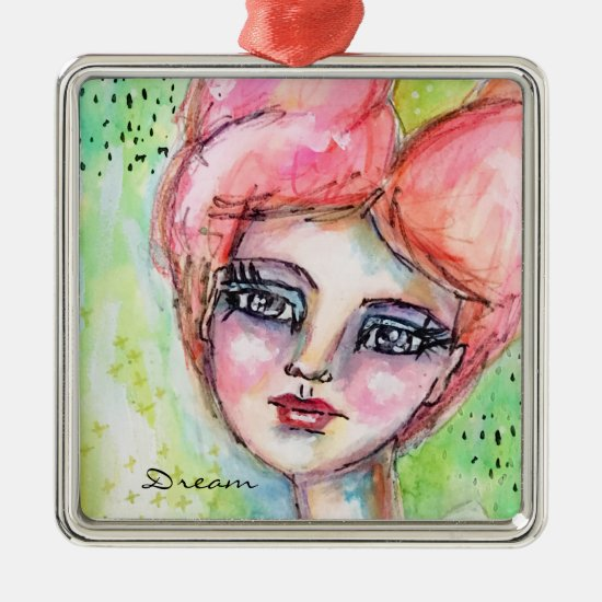 Girl Fairy Watercolor Artistic Colorful Whimsical Metal Ornament