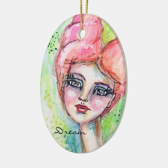 Girl Fairy Watercolor Colorful Pink Blue Green Art Ceramic Ornament