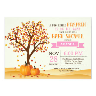 Girl Fall Baby Shower Invitation Card Trees Leaves