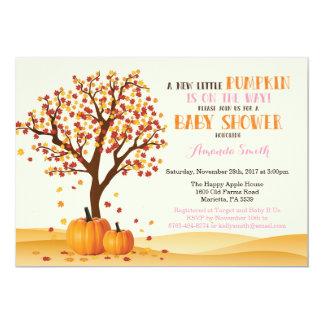 Girl Fall Pumpkin Baby Shower Invitation Card