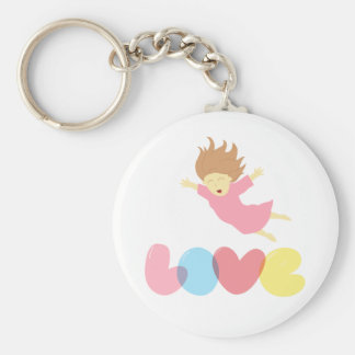 Girl falling happily into Love Keychain