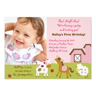 "Girl Farm Animal Custom Photo Birthday Invitations 5"" X 7"" Invitation Card"