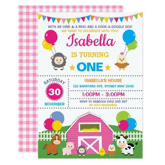 Girl Farm Barnyard Birthday Party Pink Petting Zoo Invitation