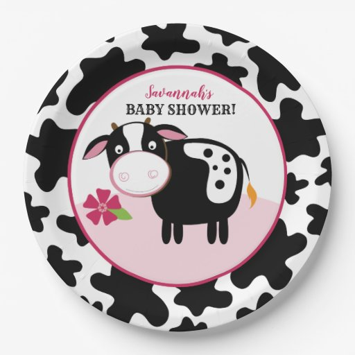Girl Farm Cow Baby Shower Paper Plates