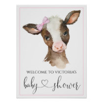 Girl Farm Cow Baby Shower Signs