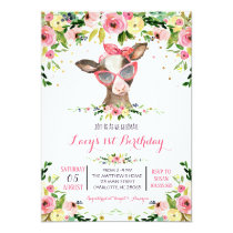 girl farm cow birthday invitation