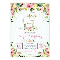 girl farm sheep birthday invitation