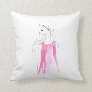 Girl Fashion Sketch Decorative Pillow
