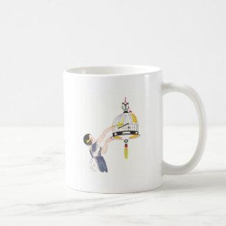 Girl Feeding Canary in Birdcage Coffee Mug