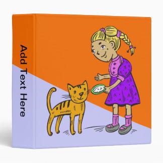 Girl Feeding Cat Binder