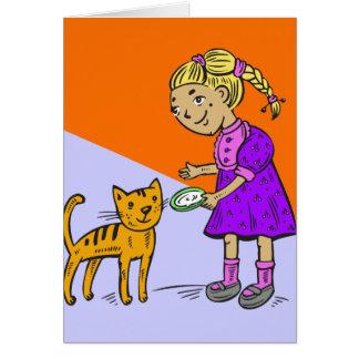 Girl Feeding Cat Card