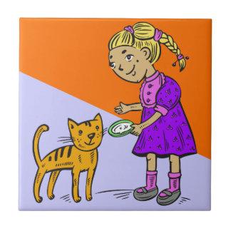 Girl Feeding Cat Tile