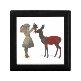 Girl Feeding Deer Jewelry Box