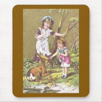 Girl Feeding Deer Mouse Pad