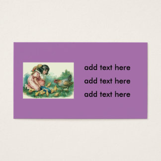 Girl Feeding Easter Chick Hen Business Card