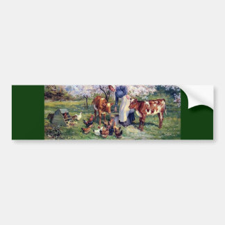 Girl Feeding Farm Animals Painting Bumper Sticker