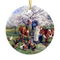 Girl Feeding Farm Animals Painting Ceramic Ornament