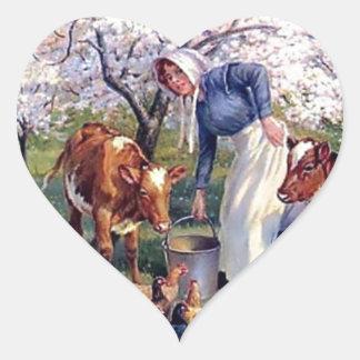 Girl Feeding Farm Animals Painting Heart Sticker