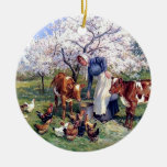 Girl Feeding Farm Animals Painting Christmas Ornament