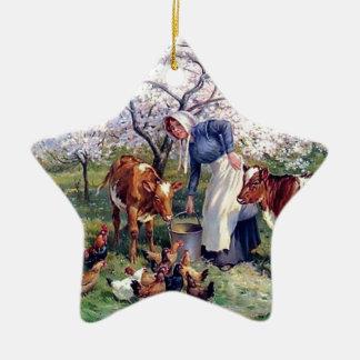 Girl Feeding Farm Animals Painting Double-Sided Star Ceramic Christmas Ornament