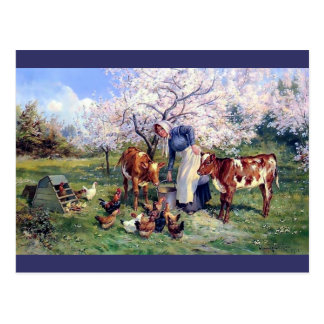 Girl Feeding Farm Animals Painting Postcard